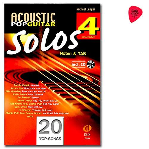 Acoustic Pop Guitar Solos 4 D884 9783868493306 - Libro de partituras con CD y hojas