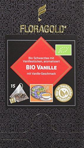 FLORAGOLD Pyramidenbeutel schwarzer Tee Bio Vanille, 1er Pack (1 x 38 g)