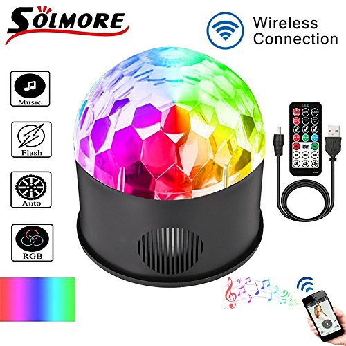 Disco Ball Lights, SOLMORE Party Lights 9 Colors Crystal Magic Ball Lights Strobe light Music Activated for Stage Kids Bedroom Birthday Club Dance Bar Holiday Wedding Celebration USB Cable (with Remote Control )