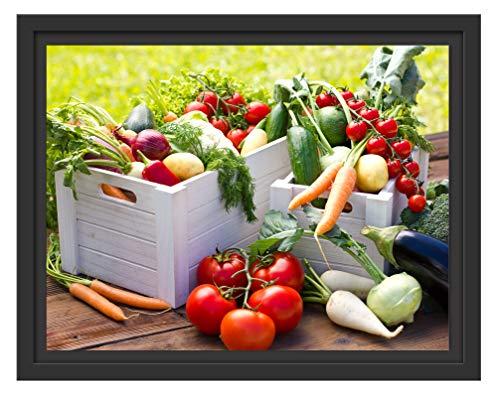 Picati Knackiges frisches Gemüse im Schattenfugen Bilderrahmen|Format: 38x30 im Schattenfugen-Bilderrahmen|Kunstdruck auf hochwertigem Galeriekarton|hochwertige Leinwandbild Alternative (Frische Lieferung Diät)