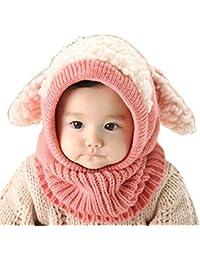 Vimeet Baby Kinder Winter Warm Gestrickter Mütze Beanie Mütze Haube Strickmütze Wintermützen Earflap Hut Kappe Schnee Hut Schlupfmütze Schalmütze Hündchen