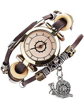 uhr damen Kolylong® Vintage Leder Armbanduhr Exquisit und elegant Armbanduhr für Frauen Mädchen Damen Kleid Quarzuhr...