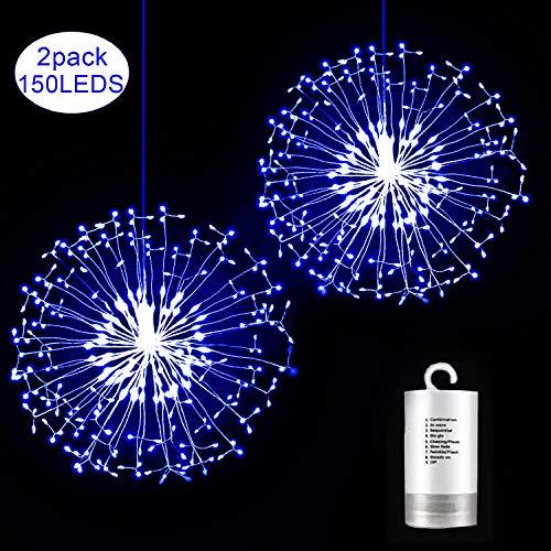 Kriogor 2 Stück LED Lichterketten, 156LED Weihnachtsbeleuchtung Explodierende Feuerwerke mit Fernbedienung (Blau)