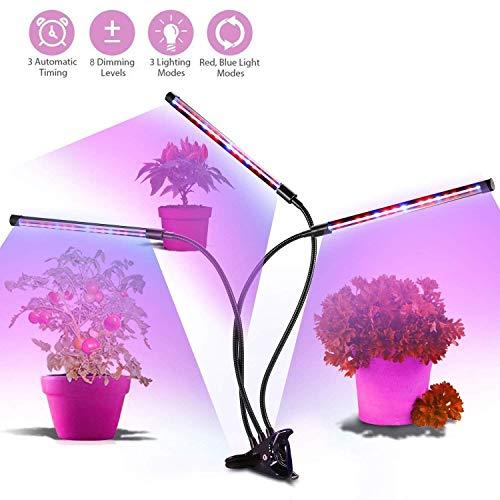 Pflanzenlampe,36W 54 LEDs Pflanzenlicht Wachsen licht,3 Automatisch Timer(4H/8H/12H) 8 Arten von Helligkeit,Automatische EIN- / Ausschalten,360 Grad einstellbar Flexible-3 Röhren -