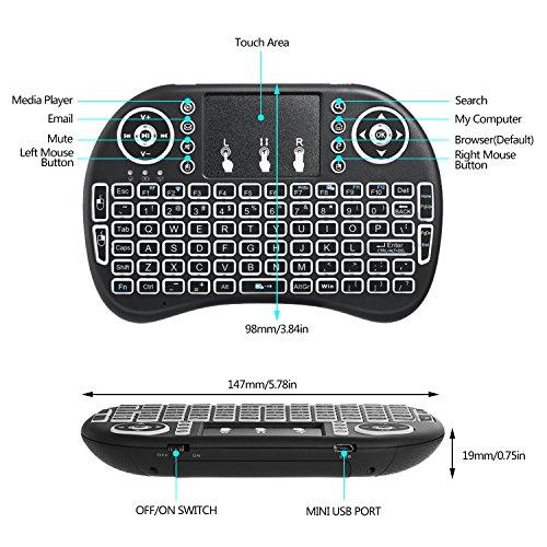 Mini drahtlose Tastatur, Wishpower 2,4Ghz mini wireless Keyboard LED Hintergrundbeleuchtung Ergonomische tastatur mit touchpad für tastatur Smart TV, Raspberry Pi 3, PC fernbedienung (weiß) - 3
