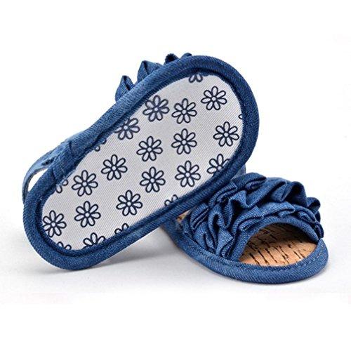Ouneed® Krabbelschuhe , 0-18 Baby Sandelholz Falten Druck Cowboy mit weichen Sohlen Kleinkind Schuhe Blau