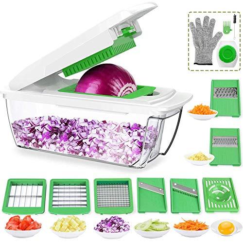 Gemüsehobel Einstellbar, Obst und Gemüseschneider mit Messereinsätzen zum Hobeln Raspeln Stifteln Scheibenschneiden, Eiertrenner, Bürste, Handschuhe
