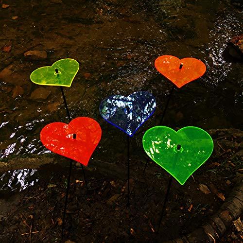 SunCatcher: SONNENFÄNGER 5er Set 'Herz' | Fluoreszierende Gartendeko | 75cm hoch mit 15cm Durchmesser | tecker Geschenk Leuchten Licht, Farbe:alle Farben (5)