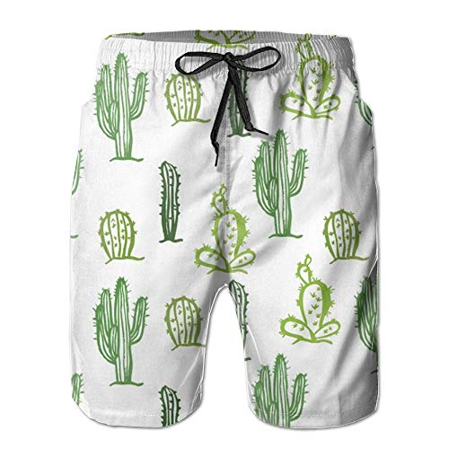Zengdou Bañador de Hombre 3D Printing Beach Shorts Cactus Swim Trunks Comfortable Breathable