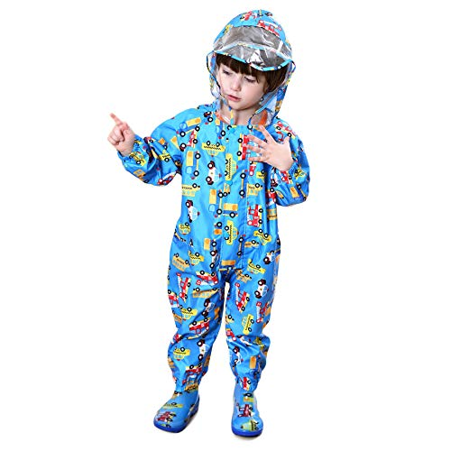 Bwiv Kids Puddle Suits Boys Girls Rainwear Lightweight Raincoat All in One Waterproof Rainsuit 1-7 Years