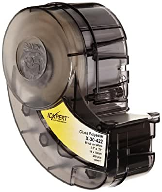 """Brady XPS-187-CONT-YL-BK IDXPERT PermaSleeve 0.335"""" Height, 1.015"""" Width, B-342 Permasleeve Heat-Shrink Polyolefin, Black On Yellow Color Wire Marker Sleeves by Brady"""