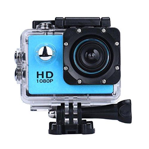 Vemont 1080p 12MP Action Kamera Full HD 2,0 Zoll Bildschirm 30m/98 Fuß Wasserdichte Sports Kamera mit Zubehör Kits für Fahrrad Motorrad Tauchen Schwimmen usw (Blau)