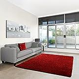 Shaggy-Teppich | Flauschiger Hochflor fürs Wohnzimmer, Schlafzimmer oder Kinderzimmer | einfarbig, schadstoffgeprüft, allergikergeeignet in Farbe: Rot; Größe: 200 x 290 cm