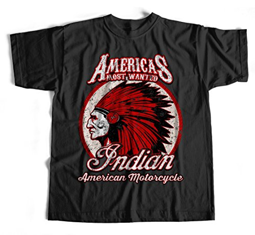 T-Shirt Indian Motorcycles 2 S-4XL USA US Rocker Route 66 Schwarz Biker (Motorcycle Indian T-shirt)