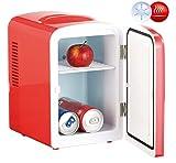 Rosenstein & Söhne Kleiner Kühlschrank: Mini-Kühlschrank mit Warmhalte-Funktion, 4 Liter, für 12/230 Volt, rot (Camping Kühlschrank)