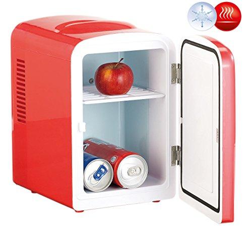 Rosenstein & Söhne Dosen Kühler: Mini-Kühlschrank mit Warmhalte-Funktion, 4 Liter, für 12/230 Volt, rot (Mini-Kühlschrank mit Peltierkühler)