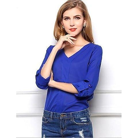 CBIN&HUA Mujeres Blue Bead V-cuello de manga larga camisa de la gasa , blue-xl , blue-xl