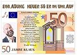 Geburtstagseinladung für 50 Jahre mit Foto - eigener Text wird eingedruckt, lustig und originell Männer Frauen, Menge 20, Größe DIN A6