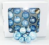 Thüringer Glasdesign Jack 59x Glas Christbaumkugeln Himmel Blau 4 5 6 7 cm teilw. Eislack Kugeln
