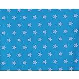 Qualitativ hochwertiger, gemusterter Jersey Stoff mit weißen Sternen auf Türkis als Meterware mit Öko-Tex Zertifizierung zum kreativen Nähen von Kinder- und Baby Kleidung, 50 cm