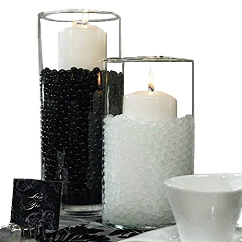 500 Pieces Black Bio Gel Aqua Round Beads - Table Centerpiece for Birthdays, Weddings, Debuts, Anniversaries, & Events - Home or Office Vase Decorations - Water ball can be used to feed