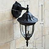 Schwarze Gartenlampe für Wand Glas E27 H:37cm MILANO rustikal Außenleuchte Haus Wand Balkon Terrasse
