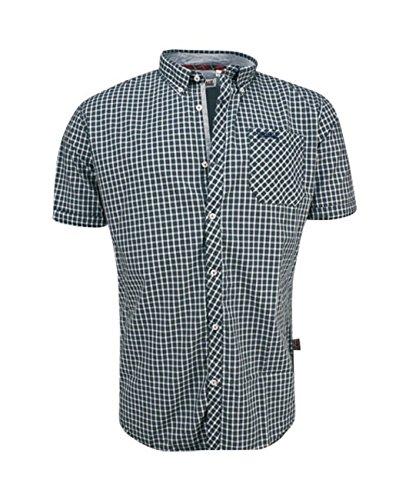 Lonsdale London -  Camicia Casual  - A quadri - Uomo khaki/navy/white (5047) Small