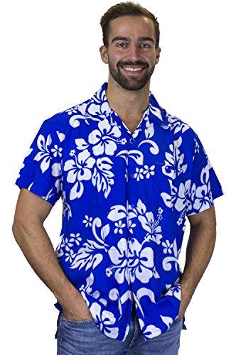V.H.O. Funky Hawaiihemd, Kurzarm, Hibiskus, Indigoblau, L