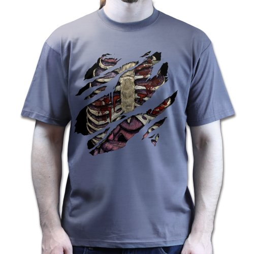 Halloween Torn Rib Cage Bones Organs Monster Vampire Outfit Fancy Dress T-Shirt Dunkelgrau