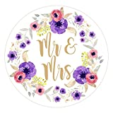 Floral Watercolour Mr & Mrs Confetti, envelope seals, wedding favour stickers / labels (70 on a sheet (25mm))