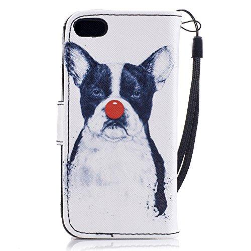 Custodia iPhone 5C Portafoglio Antigraffio Foglio Capovolgere Pelle Sintetica Cover Protettiva,MAGQI Antistress Morbido Leggero Case per iPhone 5C Guscio-Cat & Owl Funny Dog
