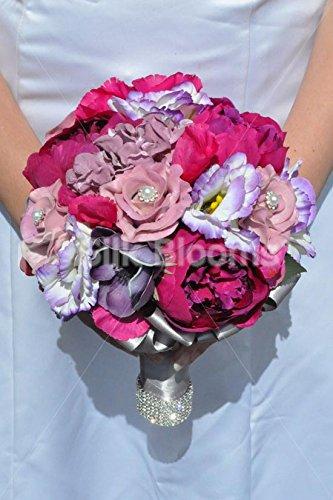 Splendida seta artificiale rosa peonia, Lisianthus e rose damigella d' onore bouquet con anemoni - Anemone Bouquet Da Sposa