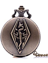 Lepakshi Bronze Vintage Antique The Elder Scrolls V Skyrim Mens Womens Quartz Pocke