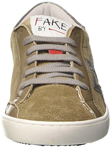 Fake By Chiodo Low 042, Sneaker a Collo Basso Unisex – Adulto Marrone (Crosta Antilope/Laminato Argento)