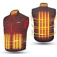 Chaleco Calefactable para Hombre y Mujer de Espalda y Cuello, Ropa Calefactable USB con 2 Controlador, 3 Temperatura Ajustable, 6 Bolsillos, 3 Tamaños Chaqueta Calefactable para Moto, Caza, Pesca (XL)