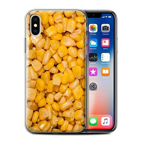 Stuff4 Gel TPU Hülle / Case für Apple iPhone X/10 / Oliven Muster / Lebensmittel Kollektion Mais