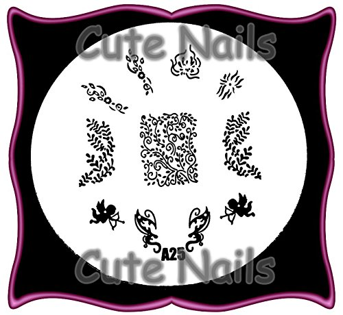 stampingschablone A25 – Ange – Fleurs – Tribals – Cute Nails
