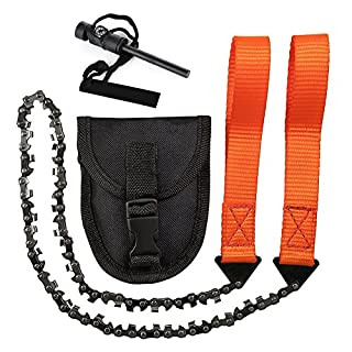 Hand Chainsaw with 33 Teeth Pocket Outdoor Cutting Tool for Garden Camping Hunting Hiking + Multifunctional Compass Fire Starter (24 Inches)