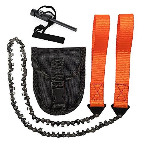 Cozywind Handkettensäge mit 33 Zähnen für Garten und Camping Survival Jagd Baumschnitt Oder Notfall-Kit + Kompass Feuerstarter (24 inches)