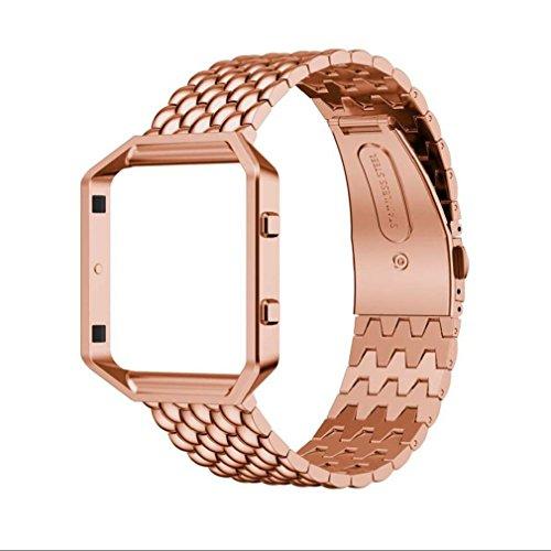 Preisvergleich Produktbild Tonsee Echter Edelstahlarmband Smart Band Uhrenarmband für Fitbit Blaze (Rose Gold)