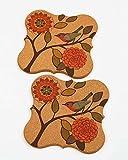 Satz von 2 Vogel Printing Cork Holz Wärmedämmung Platzdeckchen