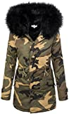 Damen Winter Parka Kunstfell Kapuze Army-Look warm D-197 S-L, Schwarz, L