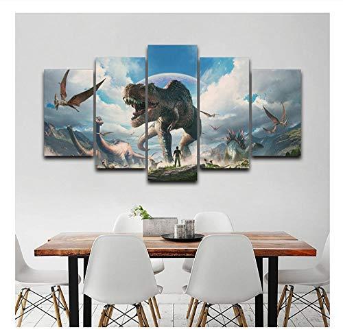 wangyubing Leinwand Malerei Wohnkultur Wandkunst Rahmen 5 Stücke Jurassic Park Dinosaurier Bilder Für Wohnzimmer HD Drucke Tier Poster