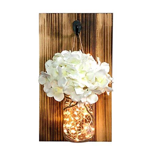 Mobestech Hängende Einmachglas, rustikale Einmachglas Wandleuchte Einmachglas mit Firefly Lampe (Holzvase + weiße Stickerei + Lichterketten)