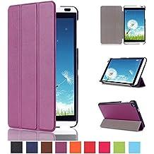 Voguecase® Para Huawei MediaPad M1 S8-301W 8.0, Funda de cuero con soporte Carcasa Tapa Case Cover (KST-tres plegados-púrpura) + Gratis aguja de la pantalla stylus universales