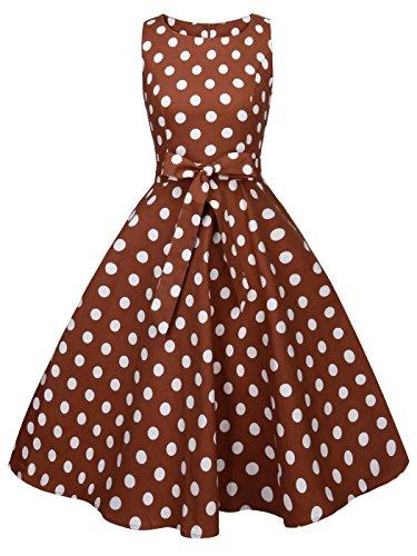 ro Blumen Cocktail Schwingen Party Kleid mit Bogen DRT017(XL,Braune weiße Punkte) (Besonderen Anlass Urlaub)