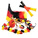Lot de 2 drapeaux allemands, Article pour supporters, Paire de drapeaux pour coupe d'Europe, coupe du monde, Fan Starterset...