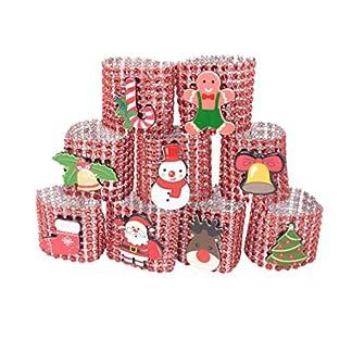 Amosfun 9 piezas anillos de servilleta de navidad servilleteros de malla de diamantes de imitación de cristal decoraciones de mesa de cena de navidad suministros para fiestas (rojo)