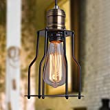 Vintage Pendulum Retro Industrial Design Edison Loft Lamp Hanging Lamp Black Brass Iron Cages Lampshade Hanging Lamp E27 Lamp holder for living room Dining room Restaurant Cellar D15cm