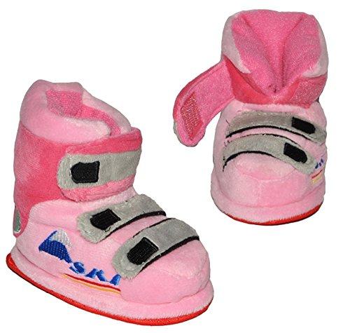 Unbekannt Hausschuhe - als rosa Skischuhe - SUPERWARM - Gr. 21 - 22 - gefütterte Plüschhausschuhe / Boots / Hausstiefel / Hausschuh Stiefel warm Skischuh / für Kinder G..